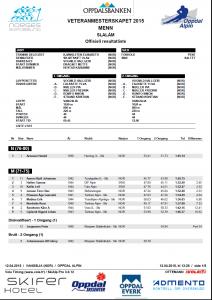 Alpinveteranene VM 2015 Slalåm menn offisielt resultat side 1