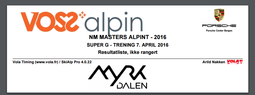 NM Masters Alpint – Myrkdalen 7. april 2016 – SG trening
