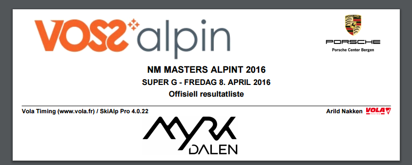 NM Masters Alpint – Myrkdalen 8. april 2016 – SG resulater