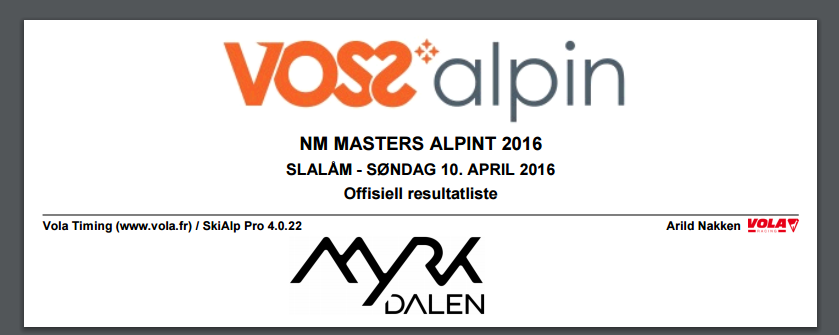 NM Masters Myrkdalen 10. april 2016 – SL resultater