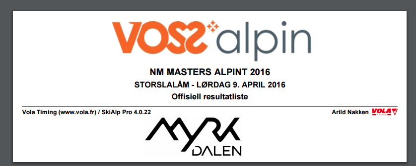 NM Masters Myrkdalen 9. april 2016 – SSL resultater